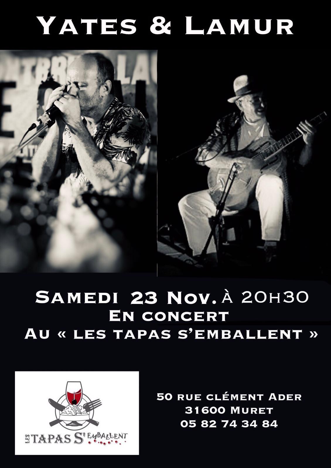 """Concert Samedi 23/11 à 20h30 """"YATES ET LAMUR"""""""