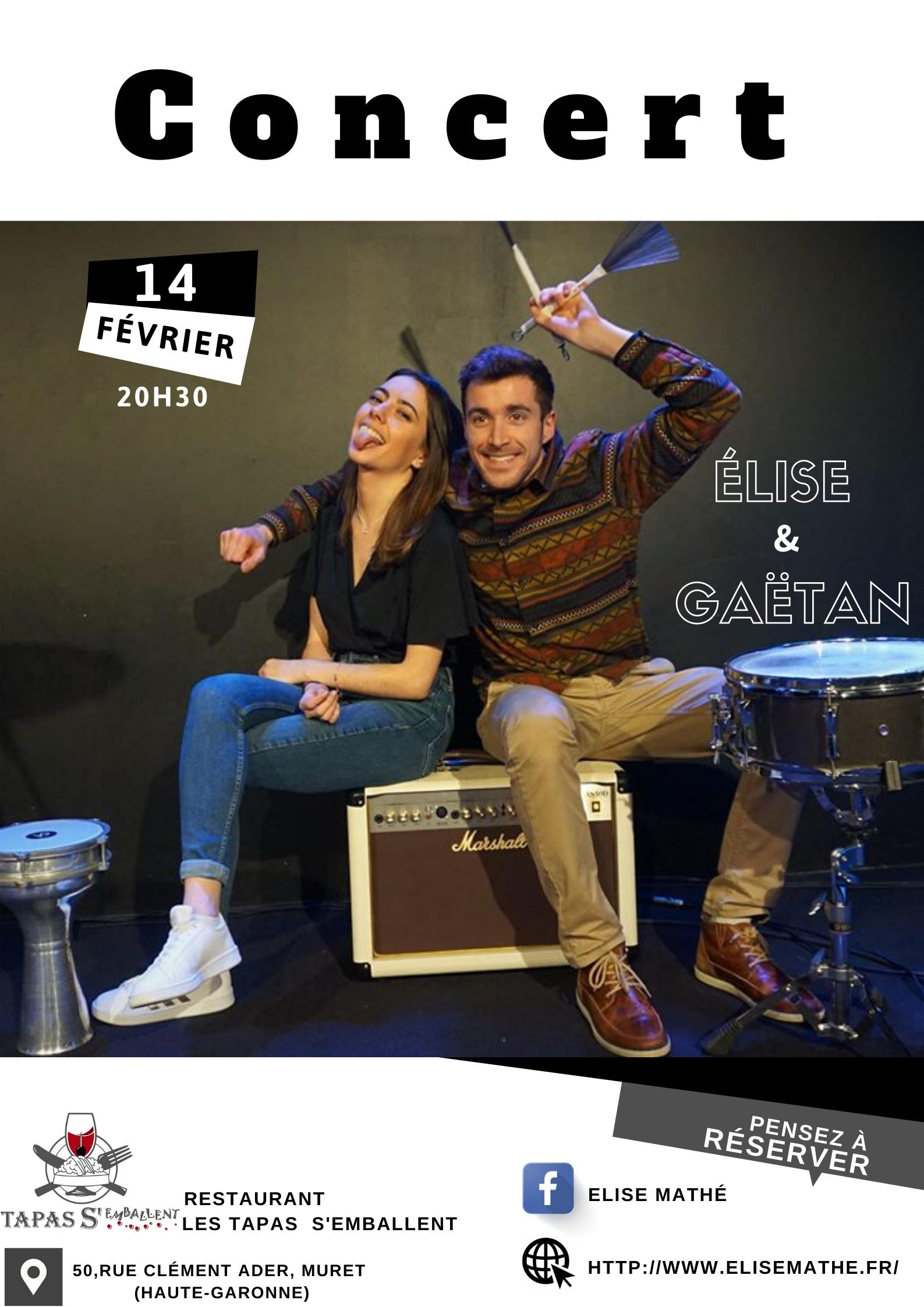 Concert le 14/02 Elise Et Gaëtan à 20h30