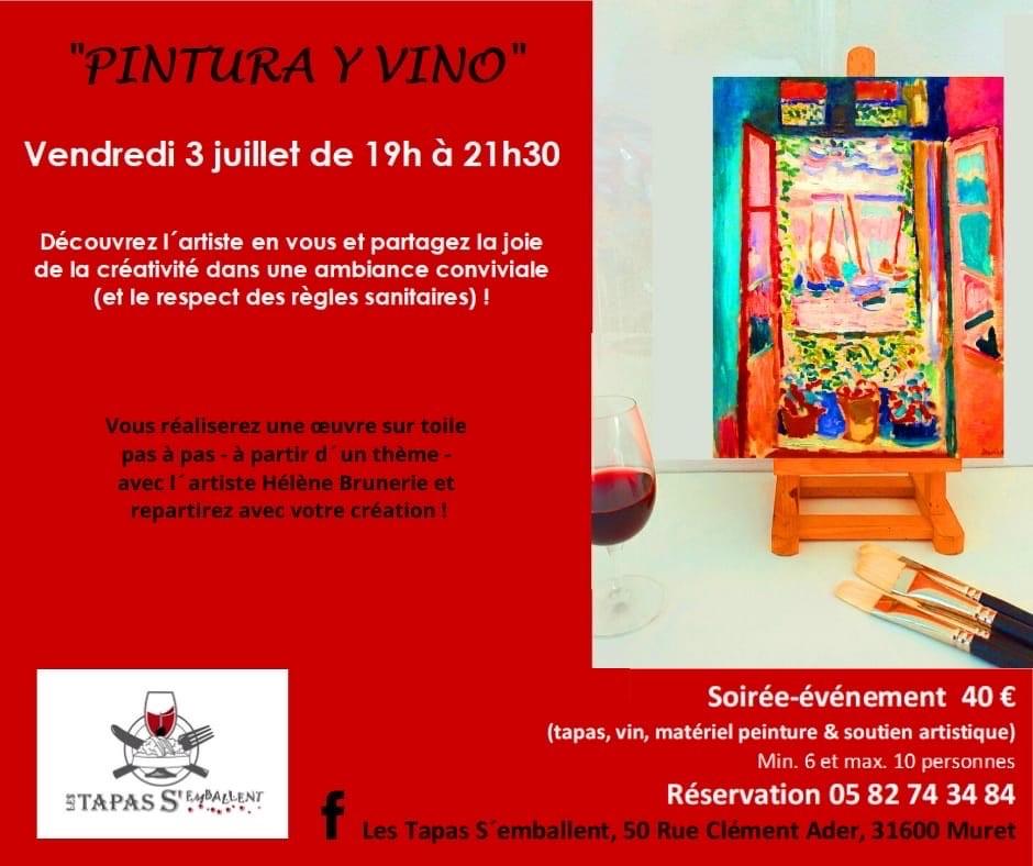 Soirée PINTURA Y VINO 3 JUILLET 2020 de 19h à 21h30